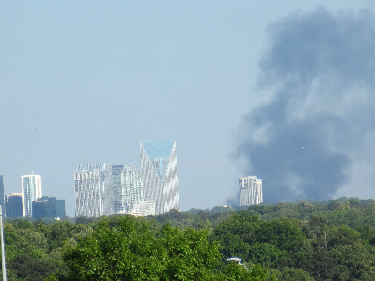 Smoke billowing from Atlanta skyline