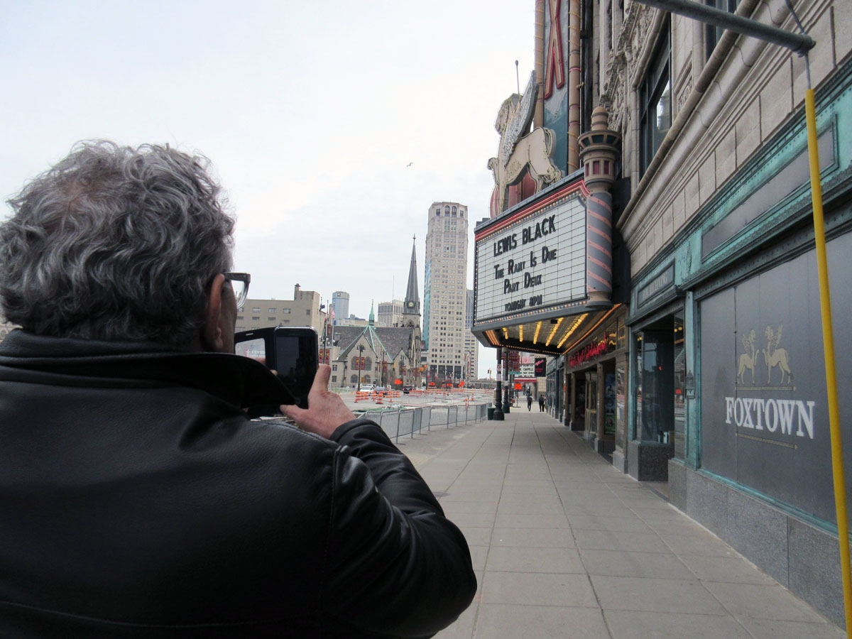 Lewis shooting the Fox Theatre marquee in Detroit MI