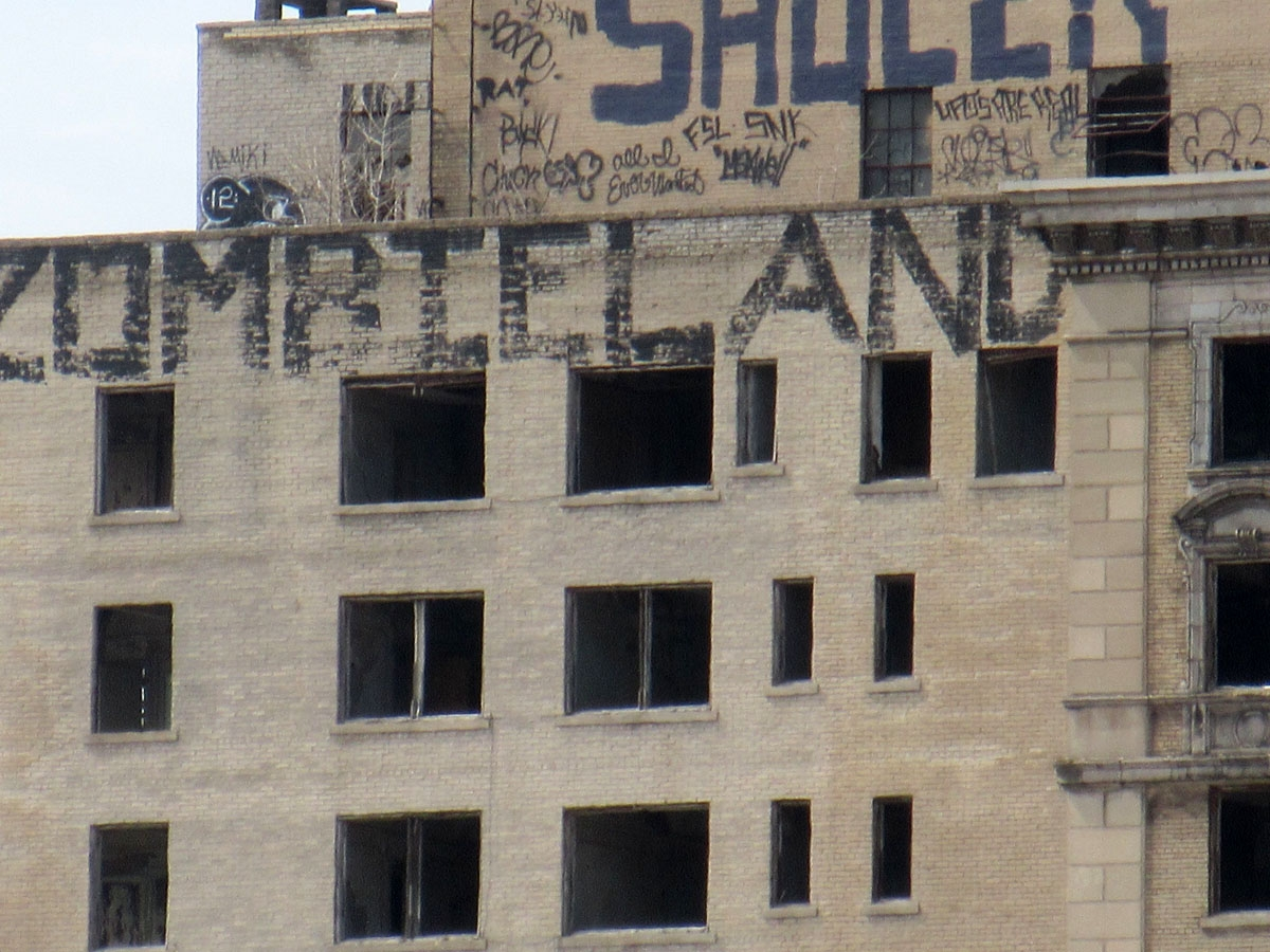 Abandoned Detroit building graffitied with Zombieland